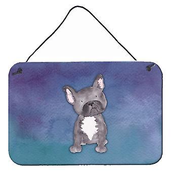 Bulldog francese dell'acquerello parete o porta appeso stampe