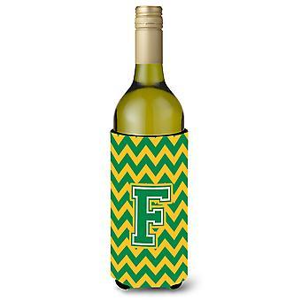 Letter F Chevron groen en goud wijnfles drank isolator Hugger