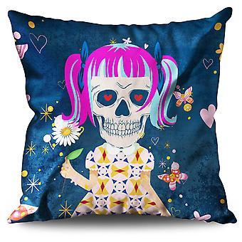 Girl Death Linen Cushion 30cm x 30cm | Wellcoda