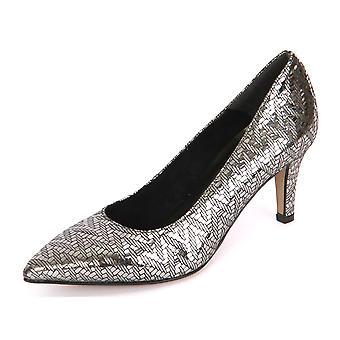 Tamaris Pewter Structur Leder 12245037964 ellegant todo ano sapatos femininos