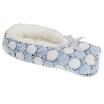 Foxbury Womens/Ladies Supersoft Circle Pattern Fleece Slippers With Grips