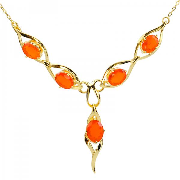 Shipton and Co Ladies Shipton And Co Exclusive 9ct Yellow Gold And Fire Opal Necklace NYG078FO