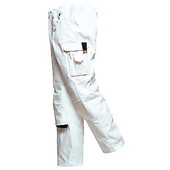Portwest メンズ ツナギ マルチ ポケット綿保護画家作業ズボン ホワイト