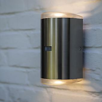 Lutec sti PIR 16w ydre LED op og ned væglampe i rustfrit stål