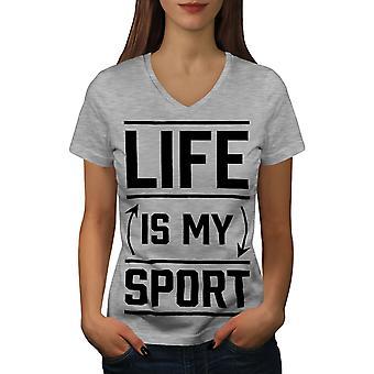 Life Is Sport Quote Funy Women GreyV-Neck T-shirt | Wellcoda
