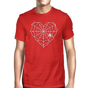 Heart Spider Web T-Shirt Halloween Mens Red Round Neck Tee Shirt