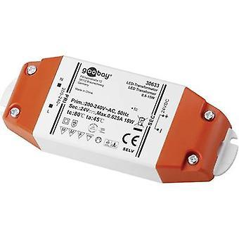 Goobay SET 24-15 LED transformador LED Tensión constante 15 W 0.625 A 24 V DC no regulable, Aprobado para su uso en muebles