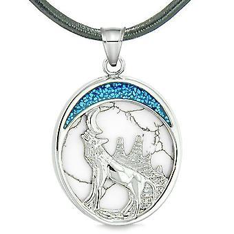 Heulender Wolf im Wald Mond Schutz Kräfte Amulett simulierten weiß türkis Anhänger Halskette