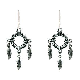 Gemshine Earrings Dream catcher Silver plated boho feather 4 cm