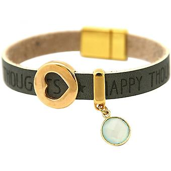 Damen - Armband - Herz - Liebe - WISHES - Chalcedon - Anthrazit - Grau - Magnetverschluss
