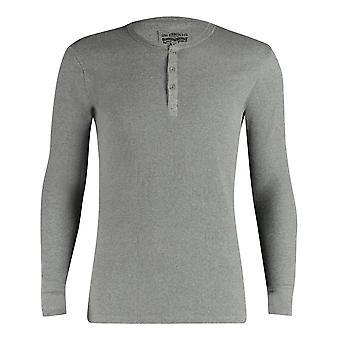 300ls de Levi côtelée coton manches longues Henley T Shirt - Middle Grey Melange