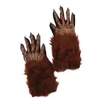 Wolf Werewolf Wolfman Horror Monster Claws Paws Hands Mens Costume Gloves