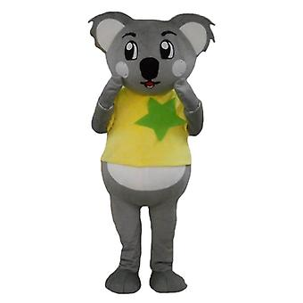 mascot SPOTSOUND koala grey and white, with a yellow and green t-shirt