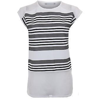 Ladies Cap ärm Mesh infoga Stripe Böjd nertill sida Slit lös passform T-Shirt Top