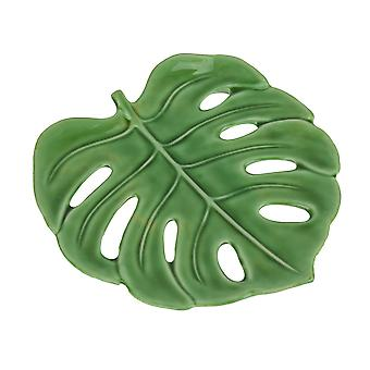 Tropical Monstera Leaf Ceramic Decorative Plate