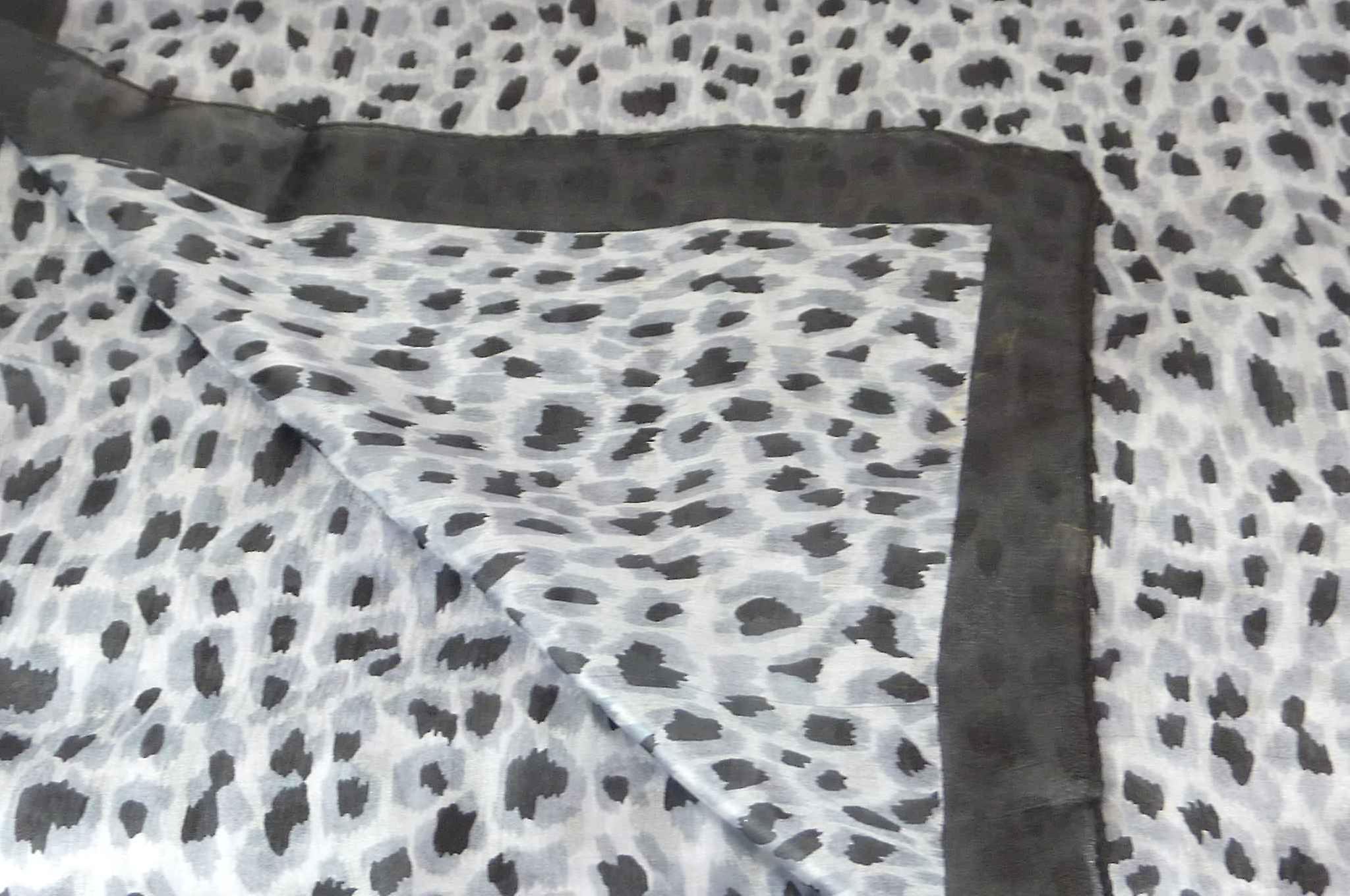 Mulberry Silk Contemporary Square Scarf Vihar Black by Pashmina & Silk