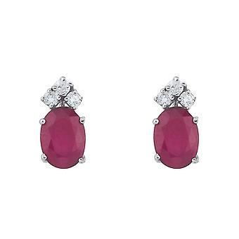 LXR 14k blanco oro rubí y diamantes pendientes ovalados 1.2 ct