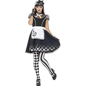 Gothic Alice puku, musta, mekko, esiliina & otsapanta