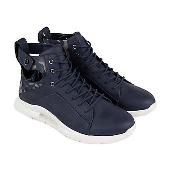 Steve Madden  Mens Blue Leather Lace Up High Top Sneakers Shoes