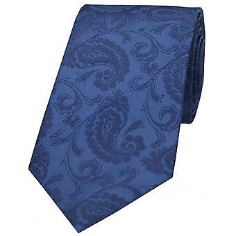 David Van Hagen luksus Paisley silke slips - Denim-blå