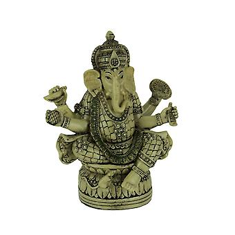 Four Hands Lord Ganesha Sitting On Lotus Flower Lalitasana Statue