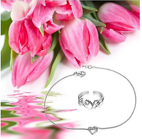 Anklet With Heart Charm 925 Sterling Silver & Love Letter Toe Ring