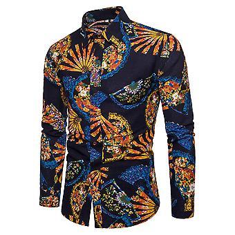 Camicia a manica lunga uomo allthemen cotone lino pieghevole fan camicia stampata