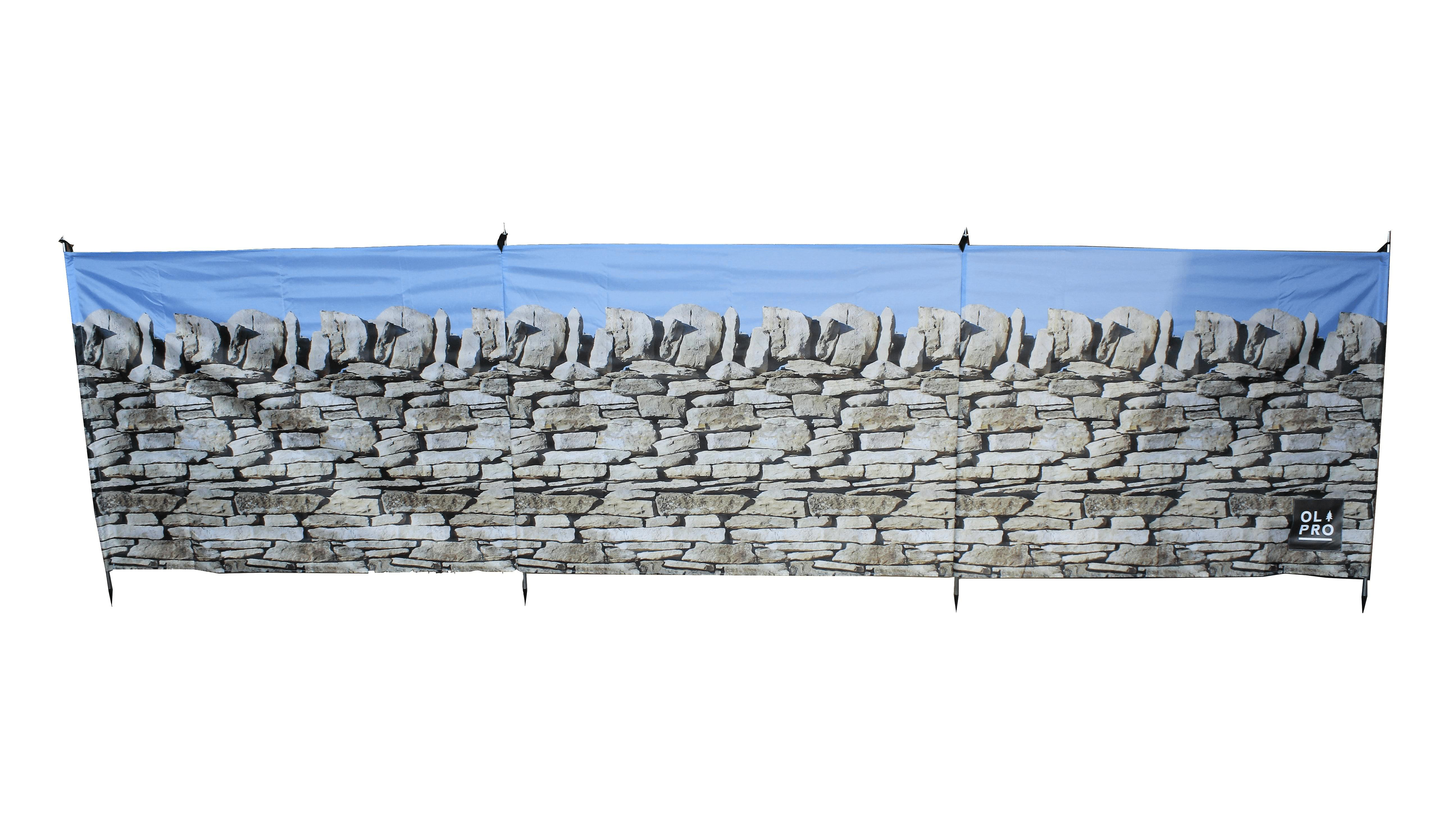 OLPRO Stone Wall 4 Pole Compact Camping Windbreak with Steel poles 480cm x 140cm