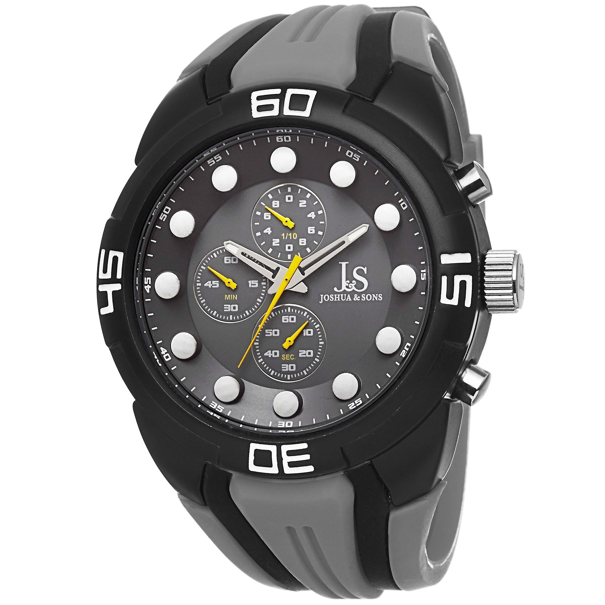 Joshua & Sons Men's JS61 Analog Display Watch with Silicone Strap JS61GY
