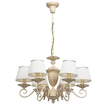 Glasberg - Beige Six Light Chandelier With Gold And Crystal Detail 450014106