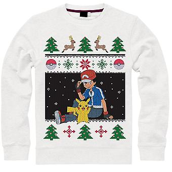 Pokemon Jumper Ash & Pikachu Christmas Sweater White-XX-Large (SW504572POK-2XL)