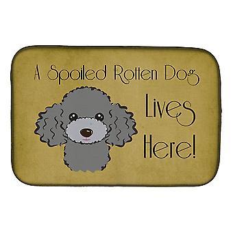 Hopea harmaa Villa koira pilaantunut koira asuu täällä lautasen kuivaus matto