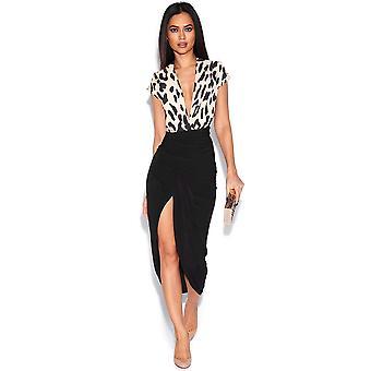 2 i 1 keps ärm leopardmönstrad Plunge klänning