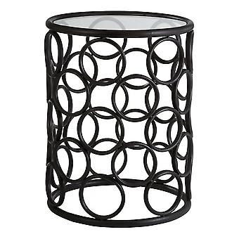 Fusion Living Black Metal Circles Side Table With Glass Top