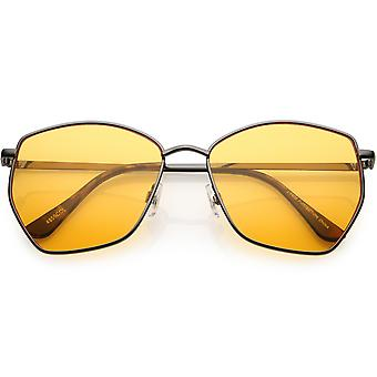 Classic Geometric Angled Color Lens Aviator Sunglasses