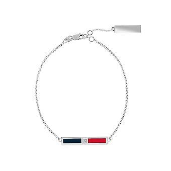 Howard University Sterling Silver Diamond Bar Chain Bracelet In Blue & Red