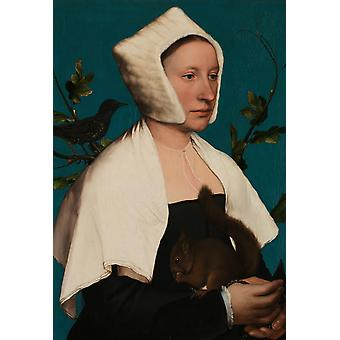Portrait of a Lady with a, Hans Holbein the Younger, 56x 38.8 cm