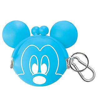 Coin Holder Key Chain - Disney - Mickey Face BLUE Silicon Rubber 25047