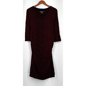 Liz Lange Maternity Dress XS Striped 3/4 Sleeve Red Womens