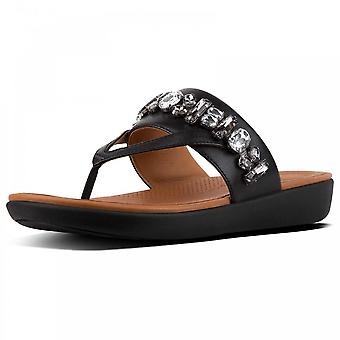 Fitflop™ Delta™ Bejewelled Leather Toe-thongs Black