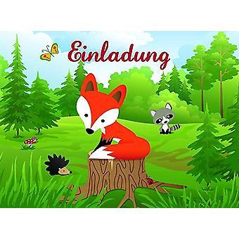 Fox Fox fiesta invitaciones con sobre 8 piezas Schlauer Fox fiesta cumpleaños de los niños