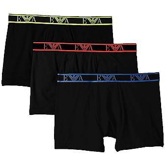 Emporio Armani Logo Stretch bomuld 3-Pack Boxer kort, sort, Small