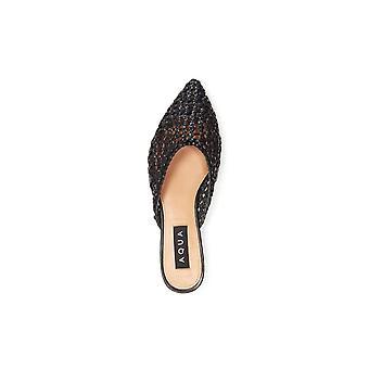 Aqua Womens Leana Leather Pointed Toe Mules