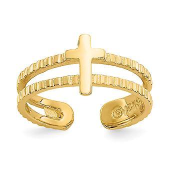 14k Amarelo Ouro Polido Brilho cortado Fé Religiosa Cross Toe Ring Joias Joias para Mulheres