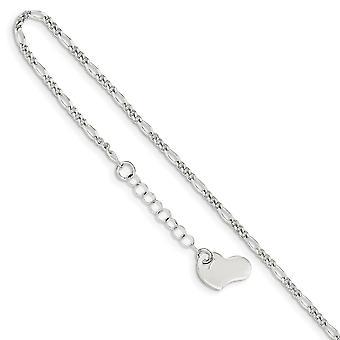 925 Sterling Silver Fancy Hummeri sulkeminen kiillotettu Love Heart 1inch Ext. Nilkkakoru 9 tuuman korut lahjat naisille