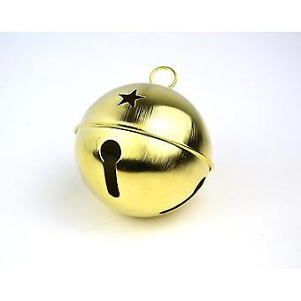 Jumbo Gold 80mm Jingle Bell with Star Cutouts for Crafts