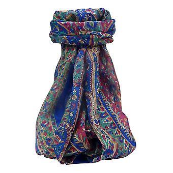 Maulbeerseide traditionelle lange Schal Amrindar blau von Pashmina & Seide