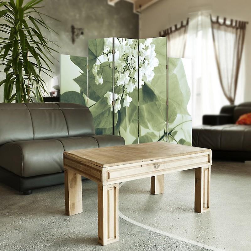 Diviseur de pièce décoratif, 5 panneaux, toile, fleur blanche 2