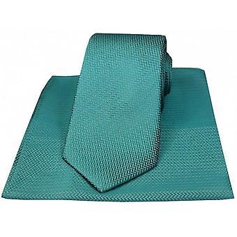 David Van Hagen Herringbone stropdas en zakdoek Set - groenblauw