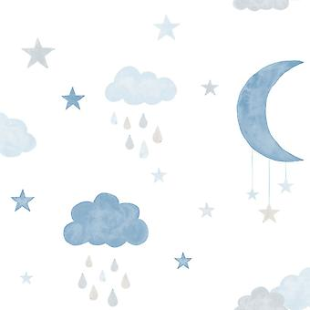 Little Ones Eco Clouds/Moon Wallpaper GranDeco